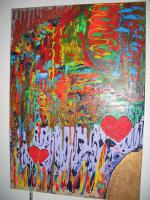''Two Hearts ''---Acryl Leinwand- Unikat