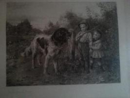 UNIKAT ? Bild Schwarz/Weiss, gr. Hund mit Bub` und Mädel Jahrgang 1893