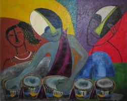 Ungewöhnliches Öl-Gemälde African Art - Trommler - ca. 95x75cm.