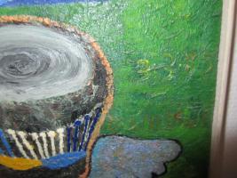 Foto 3 Ungewöhnliches Öl-Gemälde African Art - Trommler - ca. 95x75cm.