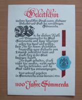 Urkunde zur 1100 Jahr-Feier Sömmerda