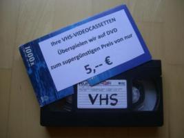 VIDEOCASSETTEN auf DVD überspielen nur 5, -- €
