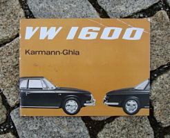 VW 1600 Karmann Ghia Typ 34 Betriebsanleitung 1965