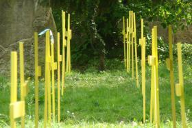 Verkaufe 150 gelbe Holzkreuze