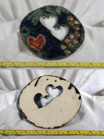 Verkaufe handgetöpferten Wandbild mit Herzchen