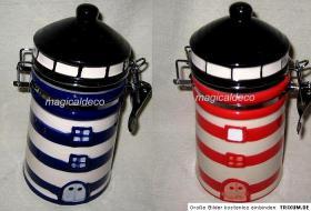 Vorratsdose-Kaffee -Zucker- Keramik Leuchtturm handbemalt-blau ODER rot - 18 cm