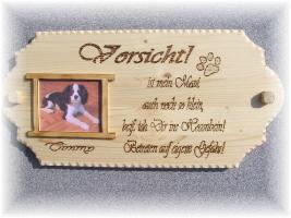 Foto 3 Warnschild aus Holz und mit Foto von deinem Liebling