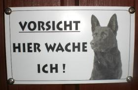 Warnschild ''Vorsicht Hund'' - Wunschgravur - mit einen Foto von Ihrem Hund