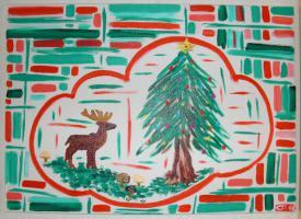 Weihnachtliches Gemälde (Der Hirsch)