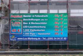Werbebanner Werbeplane Bannerdruck Foliendruck 3D Plexubuchstaben mit LED Beleuchtung Leuchtbuchstaben Beleuchtete Profilbuchstaben Berlin Leuchtkästen Leuchtschilder Werbeschilder