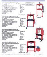 Werkstatt-Pressen –T- bis 100t + Montagehocker  + Liegepritschen