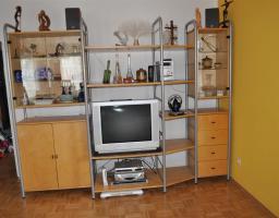 Wohnwand  IKEA Niklas Regalsystem Eiche/silber 18 Teile ...