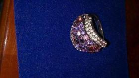 Wunderschöner veredelter Ring mit 750 Weissgold und Swarovski elements Lila und Weiss Gr.18