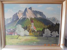Wunderschönes Ölgemälde 1958 Alpenlandschaft