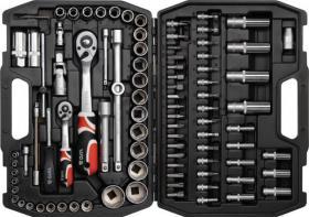 YATO Steckschlüssel 94 YT-1268 Werkzeugsatz 94 Teile Chrome-Vanadium Hartstahl S2 72 AS-DRIVE Zähne Neuware Set
