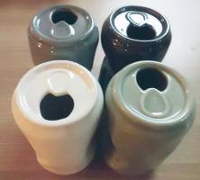 als Vase gedacht, aber auch tolle Deko: 4x in Form einer zerdepschten Dose NEU