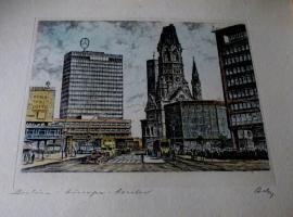 Foto 2 alte Farbradierung Berlin sig.