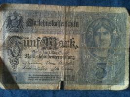 Foto 5 alte banknoten (geldscheine)