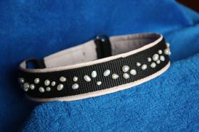 dog-charms Schmuckhalsband echte Perlen & Leder Hunde