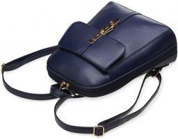 Foto 4 eleganter Damen - Rucksack mit Klappe und Verzierungen steife Ausführung blau
