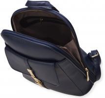 Foto 5 eleganter Damen - Rucksack mit Klappe und Verzierungen steife Ausführung blau
