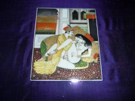 erotische miniaturmalereien , ein paar  , ca 1900 jh aus nordindien  mit goldauflage auf horn , 500.-euro
