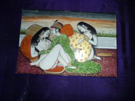 Foto 2 erotische miniaturmalereien , ein paar  , ca 1900 jh aus nordindien  mit goldauflage auf horn , 500.-euro