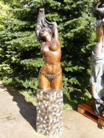 Foto 2 große Bronzeskulptur ''Büste von Arnadia'' Frankreich