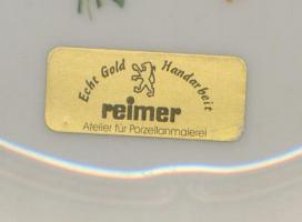 Foto 2 handbemalter Teller m. Echtgoldrand, REIMER, Atelier f. Porzellanmalerei