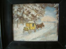 Foto 2 kl Bild : Postkutsche in winterlicher Landschaft