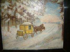 Foto 3 kl Bild : Postkutsche in winterlicher Landschaft