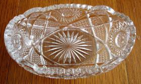 ovale Kristallschale, Schiffchenform,