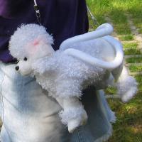 weißer Pudel - Pudeltasche - Stoffpudel - Karneval - Fasching - neu